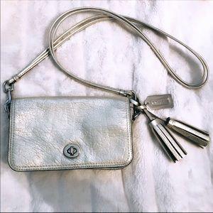Rare Coach Metallic Pebbled Leather Crossbody Bag